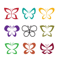 group butterfly design on white background vector image