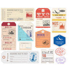 Grunge luggage tags set 2 vector