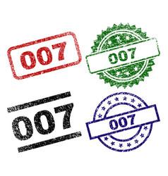 Grunge textured 007 stamp seals vector