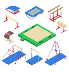 Gymnastics equipment icons set isometric style vector