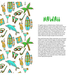 Hand drawn surfing and diving decoration hawaii vector