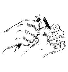 Hands break pencil engraving vector