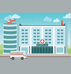 Hospital building with medical helicopter and vector