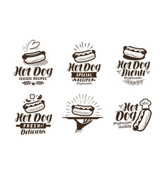 Hot dog logo or label fast food takeaway icon vector