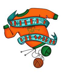 knit fast die warm tattoo sticker vector image