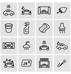 Line car wash icon set vector