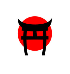 logo japanese gate torii imitation red flag vector image