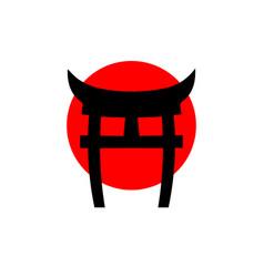 Logo japanese gate torii imitation red flag vector