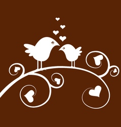 love birds on a branch vector image vector image