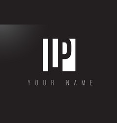 Lp letter logo with black and white negative vector
