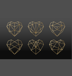 luxury collection polygonal hearts vector image