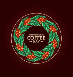 Mandala international coffee day vector