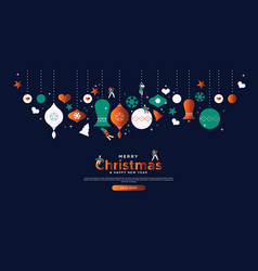 merry christmas holiday people website template vector image
