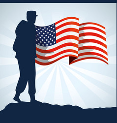 military woman silhouette with usa flag vector image