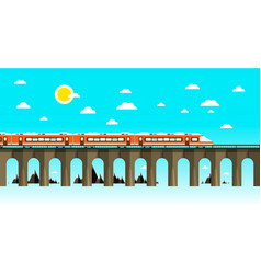 moder train on old bridge over sea flat design vector image