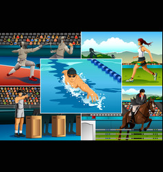 modern pentathlon sport vector image