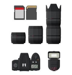 modern photo camera set vector image