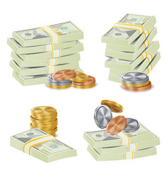money banknotes stacks 3d cash gold coins vector image