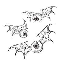 monster flying eyeballs with creepy demon wings vector image