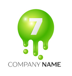 Number seven splash logo vector