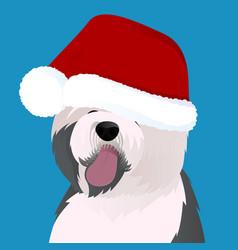 Old english sheepdog close up in santa cap vector