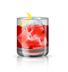 Old-fashioned cocktail isolated on white vector