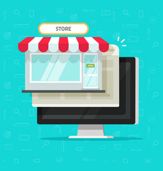 online shop on computer flat vector image