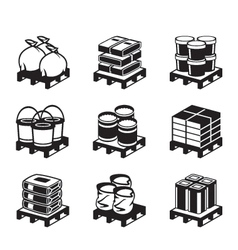 Pallets with building materials vector