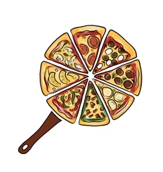 Pan with pieces of pizza sketch for your design vector image