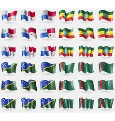 Panama Ethiopia Solomon Islands Turkmenistan Set vector
