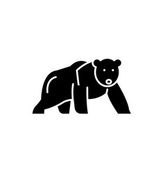 polar bear black icon sign on isolated vector image