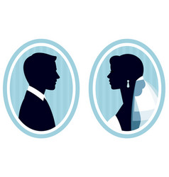 portraits in the profile of the bride and groom vector image