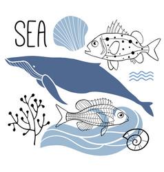 Sea card print or poster vector