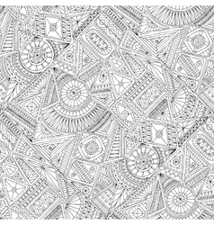 Seamless asian ethnic floral doodle pattern vector