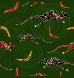 Seamless pattern kangaroos and boomerangs vector