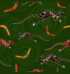seamless pattern of kangaroos and boomerangs vector image