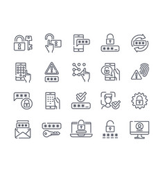Set of essential linear password related icons vector