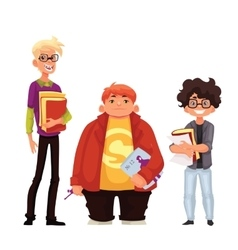 Set of isolated cartoon style nerds school boys vector