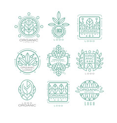 set of original organic logos linear vector image