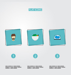 set of trendy icons flat style symbols with vector image