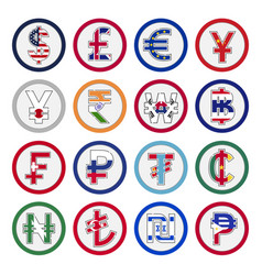 set world curreny flags and symbol vector image