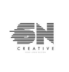 Sn s n zebra letter logo design with black and vector