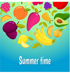summer time colorful background with fruits vector image