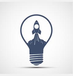 take off rocket inside a light bulb vector image
