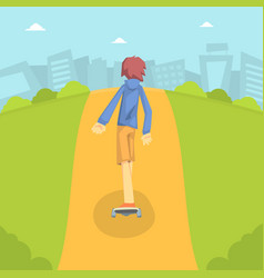 teen boy in baseball cap riding skateboard outdoor vector image