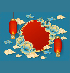template with red chinese hanging lanterns clouds vector image