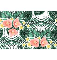 Tropical pattern leaves plumeria camelia flowers vector