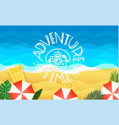Tropical with lettering inscription adventure time vector