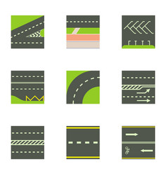 Urban road icons set cartoon style vector