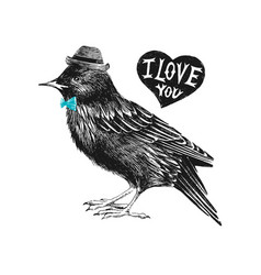 valentines day card with starling and heart vector image